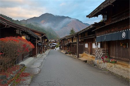 Wooden houses of old post town, Tsumago, Kiso Valley Nakasendo, Central Honshu, Japan, Asia Stock Photo - Rights-Managed, Code: 841-08102249