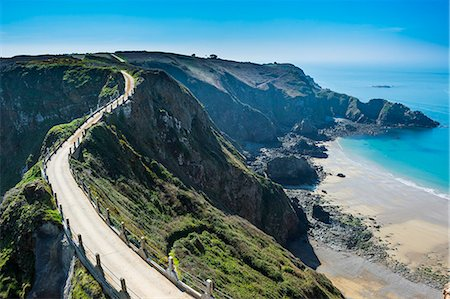Road connecting the narrow isthmus of Greater and Little Sark, Channel Islands, United Kingdom, Europe Stock Photo - Rights-Managed, Code: 841-08211544