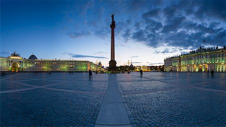 Palace Square, Alexander Column and the Hermitage, Winter Palace, UNESCO World Heritage Site, St. Petersburg, Russia, Europe Stock Photo - Rights-Managed, Code: 841-08211672
