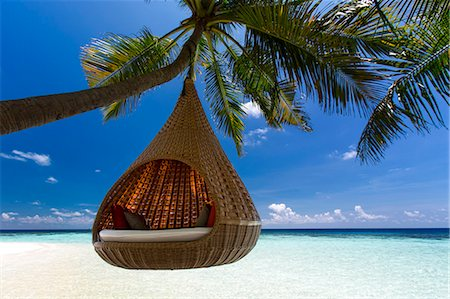 Sofa hanging on a tree on the beach, Maldives, Indian Ocean, Asia Stock Photo - Rights-Managed, Code: 841-08211696