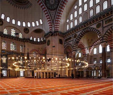 Interior of Suleymaniye Mosque, UNESCO World Heritage Site, Istanbul, Turkey, Europe Stock Photo - Rights-Managed, Code: 841-08211831