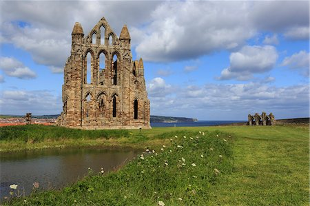 Ruins of Whitby Abbey with Abbey Pond, Whitby, North Yorkshire, England, United Kingdom, Europe Stock Photo - Rights-Managed, Code: 841-08220817
