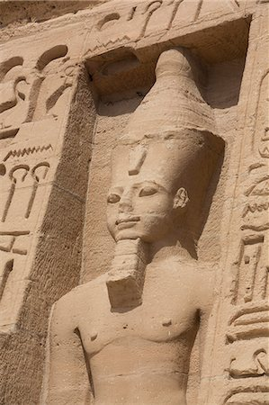 egyptian hieroglyphics - Rock-hewn statue of Ramses II, Hathor Temple of Queen Nefertari, Abu Simbel, UNESCO World Heritage Site, Egypt, North Africa, Africa Stock Photo - Rights-Managed, Code: 841-08220991