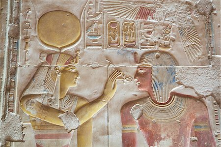 egyptian hieroglyphics - Bas-relief of Pharaoh Seti I on right with the Goddess Hathor on left, Temple of Seti I, Abydos, Egypt, North Africa, Africa Stock Photo - Rights-Managed, Code: 841-08220993