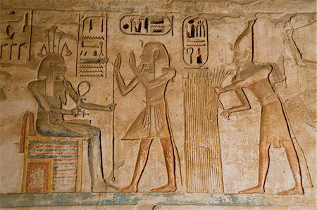 egyptian hieroglyphics - Bas-reliefs, Medinet Habu (Mortuary Temple of Ramses III), West Bank, Luxor, Thebes, UNESCO World Heritage Site, Egypt, North Africa, Africa Stock Photo - Rights-Managed, Code: 841-08221002