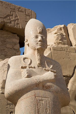 egyptian hieroglyphics - Statue of Pharaoh, Precinct of Amun-Re, Karnak Temple, Luxor, Thebes, UNESCO World Heritage Site, Egypt, North Africa, Africa Stock Photo - Rights-Managed, Code: 841-08221010