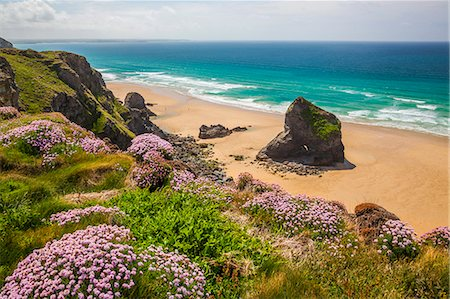 Bedruthan Steps, Newquay, Cornwall, England, United Kingdom, Europe Stock Photo - Rights-Managed, Code: 841-08244143