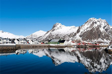 small town snow - Svolvaer, Lofoten Islands, Nordland, Arctic, Norway, Scandinavia, Europe Stock Photo - Rights-Managed, Code: 841-08244166