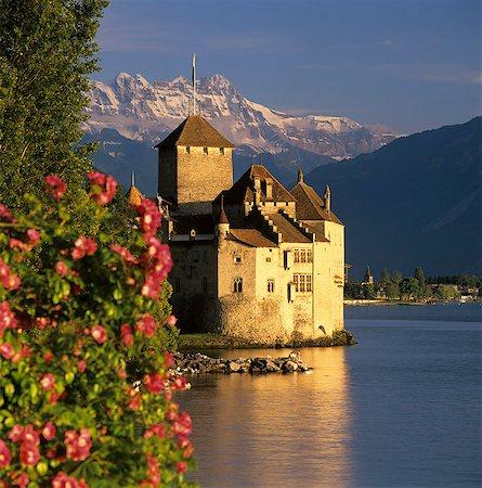 square - Chateau de Chillon (Chillon Castle) on Lake Geneva, Veytaux, Vaud Canton, Switzerland, Europe Stock Photo - Rights-Managed, Code: 841-08244311