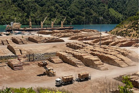 Timber port, Okiwa Bay, Marlborough Sounds, South Island, New Zealand, Pacific Stock Photo - Rights-Managed, Code: 841-08240012