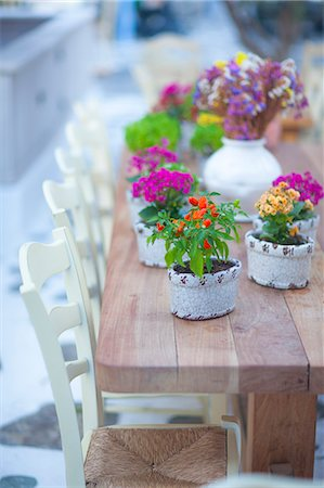 Flowers on table, Mykonos, Cyclades, Greek Islands, Greece, Europe Stock Photo - Rights-Managed, Code: 841-08279304