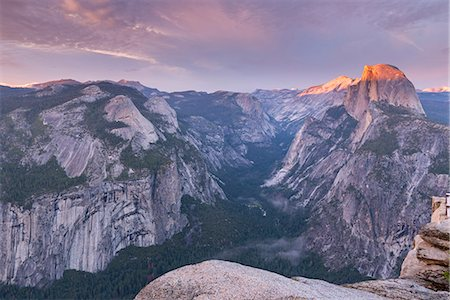 Last light on Half Dome above Yosemite Valley, Yosemite National Park, UNESCO World Heritage Site, California, United States of America, North America Stock Photo - Rights-Managed, Code: 841-08279429