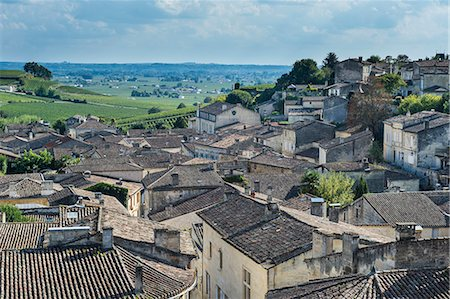 View over the UNESCO World Heritage Site, St. Emilion, Gironde, Aquitaine, France, Europe Stock Photo - Rights-Managed, Code: 841-08421216