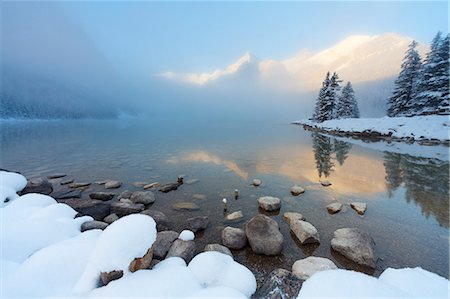 dreamy - Foggy sunrise at Lake Louise, Banff National Park, UNESCO World Heritage Site, Rocky Mountains, Alberta, Canada, North America Stock Photo - Rights-Managed, Code: 841-08438569