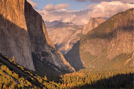 Yosemite Valley, with evening light bathing Half Dome and El Capitan, Yosemite National Park, UNESCO World Heritage Site, California, United States of America, North America Stock Photo - Rights-Managed, Code: 841-08438753