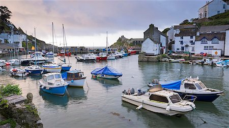 Boats in Polperro harbour, Cornwall, England, United Kingdom, Europe Stock Photo - Rights-Managed, Code: 841-08438768