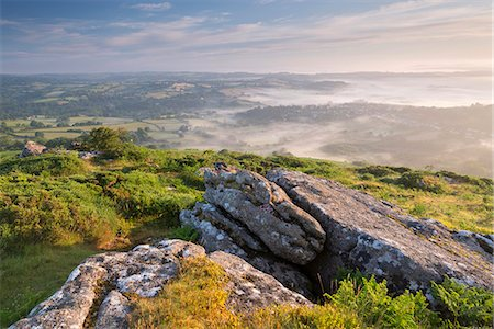 dartmoor national park - Mist covered village of Chagford and rolling countryside from Meldon Hill, Dartmoor National Park, Devon, England, United Kingdom, Europe Stock Photo - Rights-Managed, Code: 841-08438775