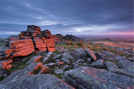 dartmoor national park - First light at sunrise glows against Belstone Tor, Dartmoor National Park, Devon, England, United Kingdom, Europe Stock Photo - Rights-Managed, Code: 841-08438779