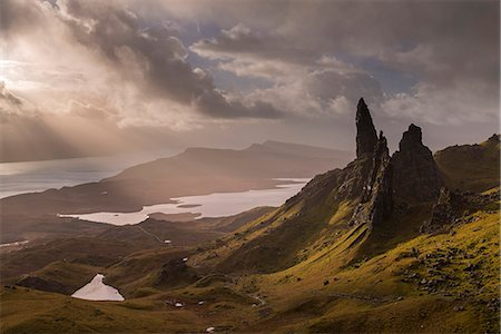 extreme terrain - Dramatic morning light at the Old Man of Storr on the Isle of Skye, Inner Hebrides, Scotland, United Kingdom, Europe Stock Photo - Rights-Managed, Code: 841-08438808