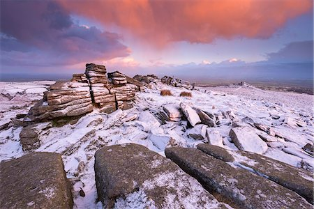 dartmoor national park - Colourful sunrise above snow covered moorland, Belstone Tor, Dartmoor, Devon, England, United Kingdom, Europe Stock Photo - Rights-Managed, Code: 841-08438818