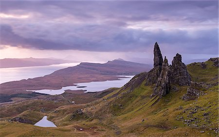 extreme terrain - Atmospheric sunrise above the Old Man of Storr on the Isle of Skye, Inner Hebrides, Scotland, United Kingdom, Europe Stock Photo - Rights-Managed, Code: 841-08438810