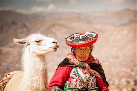 peru and culture - Traditional Peruvian woman and her llama, Cusco, Peru, South America Stock Photo - Rights-Managed, Code: 841-08645356