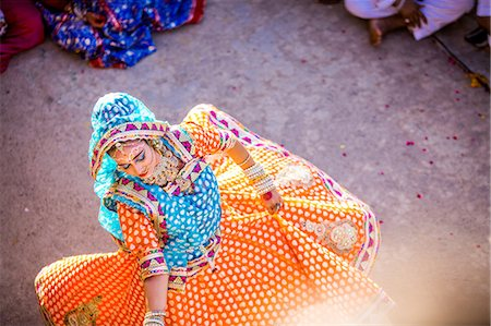 Traditional Radha dance during the Flower Holi Festival, Vrindavan, Uttar Pradesh, India, Asia Stock Photo - Rights-Managed, Code: 841-08645402