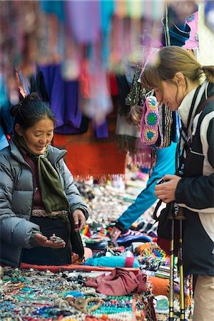 Shopping for souvenirs in Namche Bazaar, the main town during the Everest base camp trek, Nepal, Asia Stock Photo - Rights-Managed, Code: 841-08663590