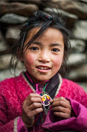 A little Buddhist girl in the Tsum Valley, Manaslu region, Nepal, Asia Stock Photo - Rights-Managed, Code: 841-08663614