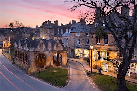 Market Hall and Cotswold stone cottages on High Street, Chipping Campden, Cotswolds, Gloucestershire, England, United Kingdom, Europe Stock Photo - Rights-Managed, Code: 841-08663675