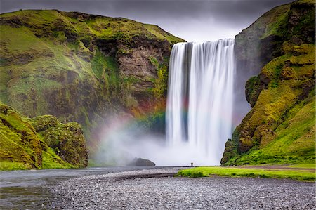 Skogafoss waterfall situated on the Skoga River in the South Region, Iceland, Polar Regions Stock Photo - Rights-Managed, Code: 841-08718023