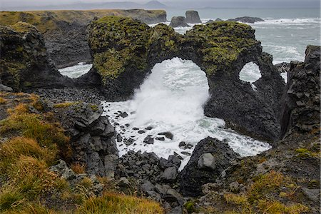 Gatklettur basalt rock arch on the Snaefellsness Peninsula, Iceland, Polar Regions Stock Photo - Rights-Managed, Code: 841-08821651