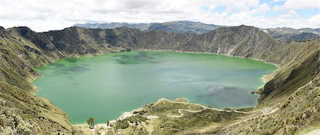 Lago Quilotoa, caldera lake in extinct volcano in central highlands of Andes, Ecuador, South America Stock Photo - Rights-Managed, Code: 841-08821671