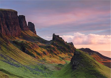scenic - Early morning dawn light hits the Quiraing in the Trotternish peninsula on the Isle of Skye, Inner Hebrides, Scotland, United Kingdom, Europe Stock Photo - Rights-Managed, Code: 841-08860765