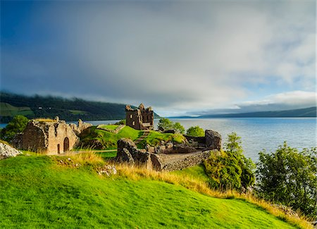 european - Urquhart Castle and Loch Ness, Highlands, Scotland, United Kingdom, Europe Stock Photo - Rights-Managed, Code: 841-08887383