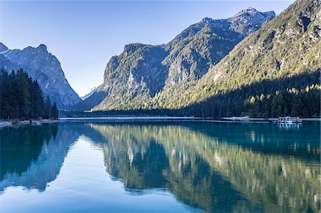 Lago di Dobbiaco (Toblacher See) in the Italian Dolomites, South Tyrol, Italy, Europe Stock Photo - Rights-Managed, Code: 841-08887527