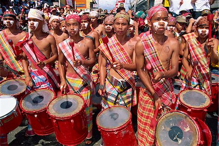 pictures philippine festivals philippines - Portrait of a group of drummers during the Mardi Gras carnival, Dinagyant, in Iloilo City, Panay Island, Philippines, Southeast Asia, Asia Stock Photo - Rights-Managed, Code: 841-02704018