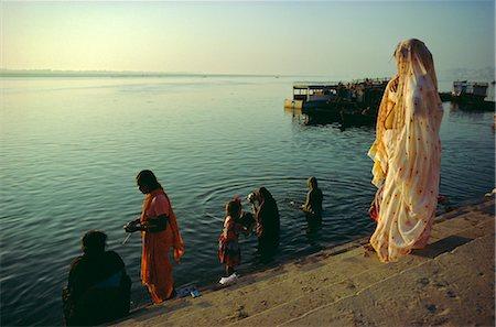 The Ganges (Ganga) River waterfront, Varanasi (Benares), Uttar Pradesh, India Stock Photo - Rights-Managed, Code: 841-02704504