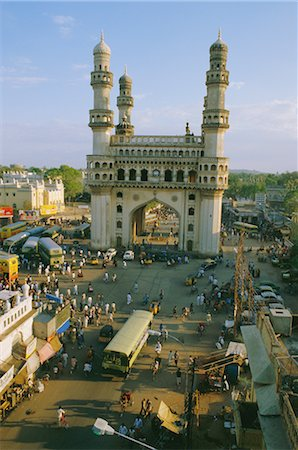 The Char Minar (Charminar) triumphal arch in Hyderabad, Andhra Pradesh, India Stock Photo - Rights-Managed, Code: 841-02704521