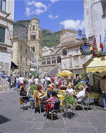 Cafes and cathedral, Amalfi, Amalfi Coast, Campania, Italy, Europe Stock Photo - Rights-Managed, Code: 841-02705531