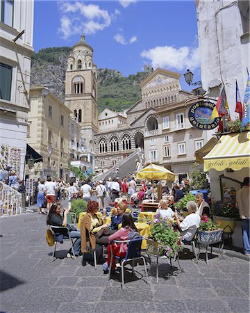 Cafes and cathedral, Amalfi, Amalfi Coast, Campania, Italy, Europe Stock Photo - Rights-Managed, Code: 841-02705531