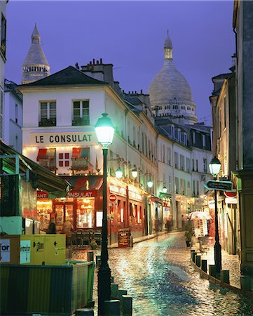 Rainy street and dome of the Sacre Coeur, Montmartre, Paris, France, Europe Stock Photo - Rights-Managed, Code: 841-02705604