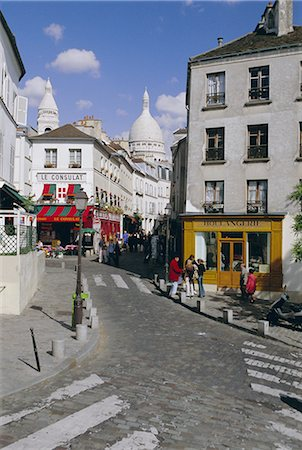 Street scene and the dome of the basilica of Sacre Coeur, Montmartre, Paris, France, Europe Stock Photo - Rights-Managed, Code: 841-02706530