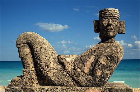 Statue of Chac-Mool, Cancun, Quitana Roo, Mexico, North America Stock Photo - Rights-Managed, Code: 841-02708082