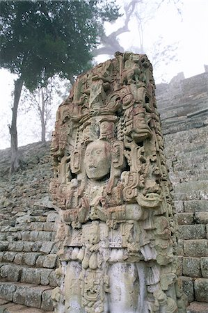 Stela N and Temple of Inscriptions, Mayan site, Copan, UNESCO World Heritage Site, Honduras, Central America Stock Photo - Rights-Managed, Code: 841-02709544