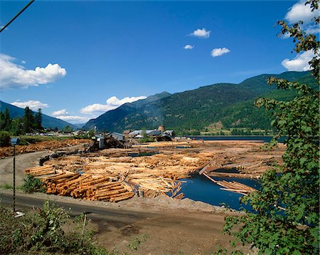 Lumber mill near Chase, British Columbia, Canada, North America Stock Photo - Rights-Managed, Code: 841-02703153