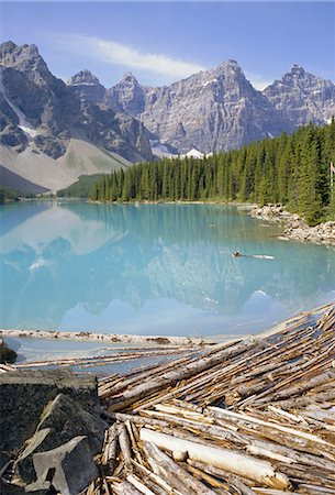 Moraine Lake, Rocky Mountains, Alberta, Canada Stock Photo - Rights-Managed, Code: 841-02703197
