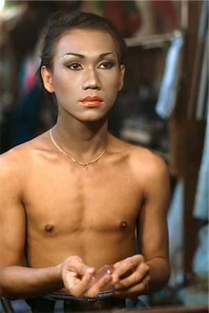 A gay boy preparing backstage for a show at the Rome Club Disco in Patpong in Bangkok, Thailand, Southeast Asia, Asia Stock Photo - Rights-Managed, Code: 841-02703951