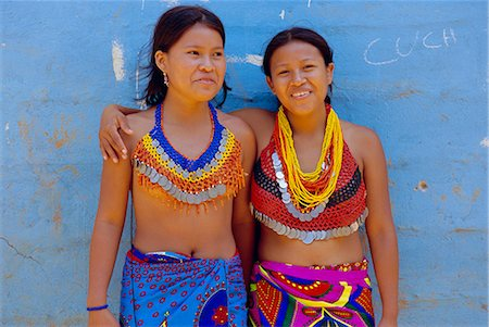 panama traditional costume - Portrait of two Embera Indian girls, Chagres National Park, Panama, Central America Stock Photo - Rights-Managed, Code: 841-02714408