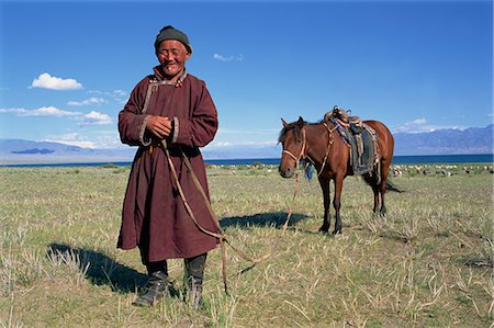 Lake Uureg Nuur, nomad and his horse, Uvs, Mongolia, Central Asia, Asia Stock Photo - Rights-Managed, Code: 841-02714688